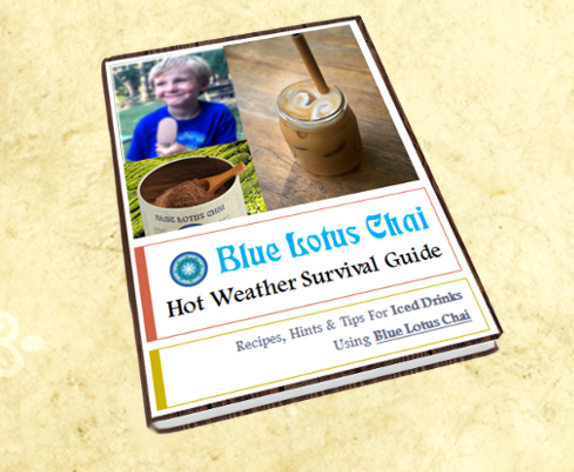 "Download our ""Hot Weather Survival Guide"" - a PDF ebook with amazing cold beverage recipes, smoothies and tips using BLUE LOTUS CHAI"
