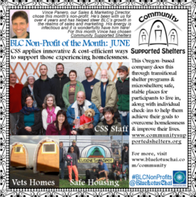 Non-Profit of the Month June - Vince - Community Supported Shelters